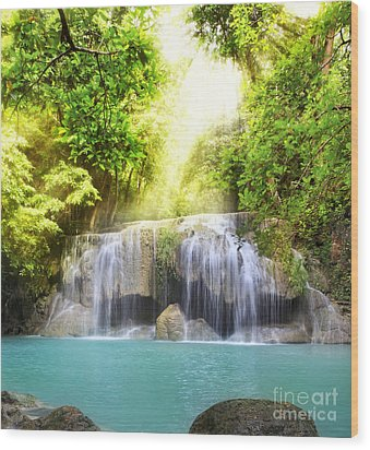 Erawan Waterfall Wood Print by Anek Suwannaphoom