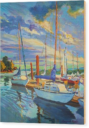 Evening At The Marina Wood Print by Margaret  Plumb