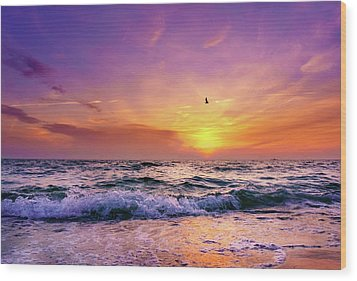 Wood Print featuring the photograph Evening Flight by Dmytro Korol