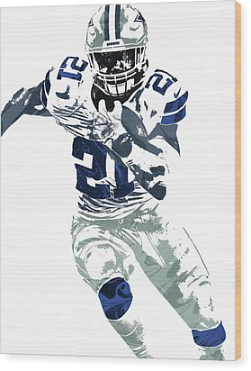 Ezekiel Elliott Dallas Cowboys Pixel Art 6 Wood Print by Joe Hamilton