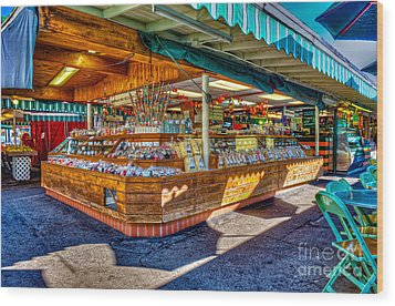 Fairfax Farmers Market Wood Print by David Zanzinger