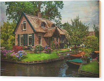 Fairytale House. Giethoorn. Venice Of The North Wood Print by Jenny Rainbow