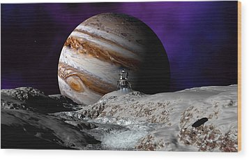 Wood Print featuring the digital art Falcon Over Europa by David Robinson