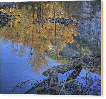 Fall Color At Big Bluff Wood Print by Michael Dougherty