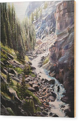 Falls Below Rimrock Lake Wood Print by Patti Gordon