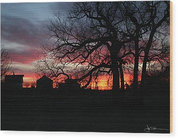 Farm Sunrise Wood Print