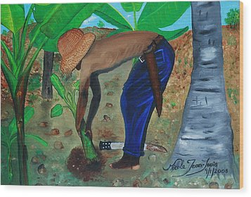 Wood Print featuring the painting Farmer Planting Banana Tree by Nicole Jean-Louis