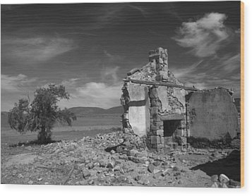 Farmhouse Cottage Ruin Flinders Ranges South Australia Wood Print by Ralph A  Ledergerber-Photography
