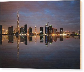 Fascinating Reflection Of Tallest Skyscrapers In Bussiness Bay D Wood Print