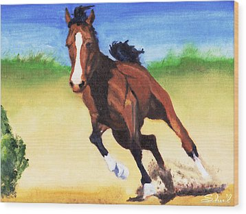 Fast Horse Wood Print by Sherril Porter