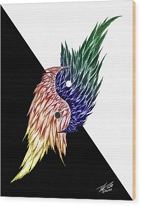 Feathered Ying Yang  Wood Print by Peter Piatt