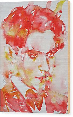 Wood Print featuring the painting Federico Garcia Lorca - Watercolor Portrait by Fabrizio Cassetta
