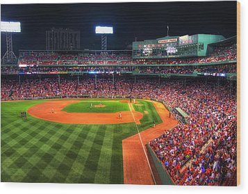 Fenway Park At Night - Boston Wood Print