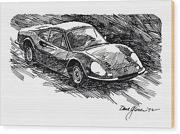 Ferrari Dino Wood Print by David Lloyd Glover