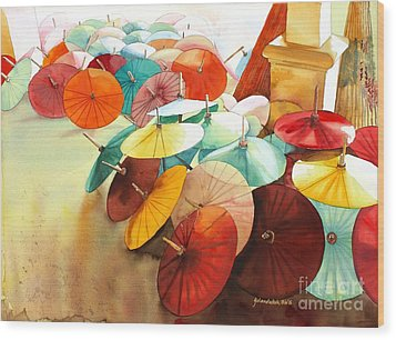 Wood Print featuring the painting Festive Umbrellas by Yolanda Koh
