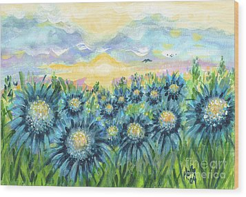 Field Of Blue Flowers Wood Print
