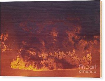Fiery Clouds Wood Print by Michal Boubin