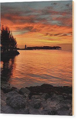 Wood Print featuring the photograph Fiery Sunset Reflections by Stephen  Vecchiotti