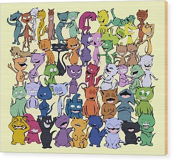 Fifty Happy Cats Wood Print