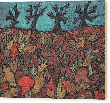 Finding Autumn Leaves Wood Print by Wayne Potrafka