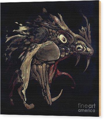 Fire Dragon Wood Print by Liz Molnar