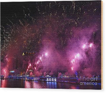 Wood Print featuring the photograph Fireworks Along The Love River In Taiwan by Yali Shi