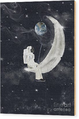 Wood Print featuring the painting Fishing For Stars by Bri B
