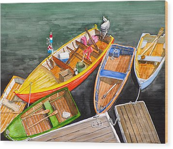 Five Boats In Rockport Harbor Wood Print