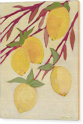 Five Lemons Wood Print by Jennifer Lommers
