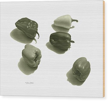 Wood Print featuring the drawing Five Peppers by Donna Basile