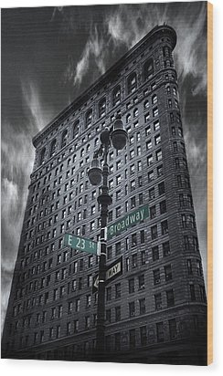 Wood Print featuring the photograph Flatiron Noir by Jessica Jenney