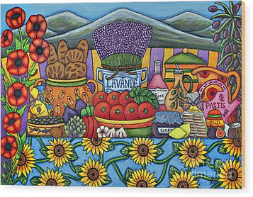 Flavours Of Provence Wood Print by Lisa  Lorenz