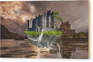 Floating Castle Wood Print by Marvin Blaine