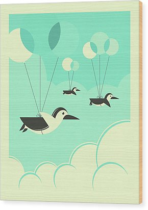 Flock Of Penguins Wood Print by Jazzberry Blue