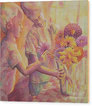 Flower Arranging Wood Print