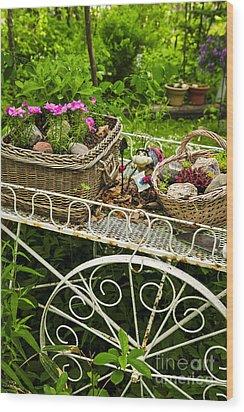 Flower Cart In Garden Wood Print by Elena Elisseeva