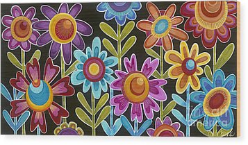 Wood Print featuring the painting Flower Power by Carla Bank
