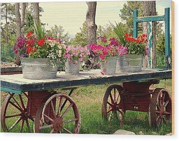 Flower Wagon Wood Print by Susanne Van Hulst