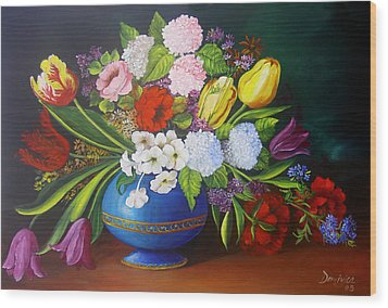Flowers In A Vase Wood Print by Dominica Alcantara