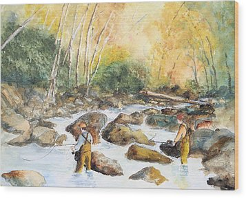 Fly Fishin' On Little Pigeon Wood Print