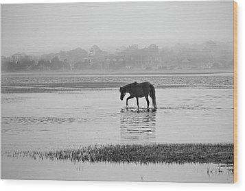 Foggy Morning Crossing Wood Print by Bob Decker
