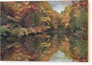 Wood Print featuring the photograph Foliage Reflections by Jessica Jenney
