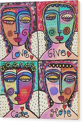 Four Gemstone Angels  Wood Print by Sandra Silberzweig