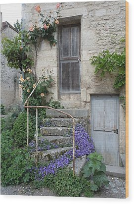 French Staircase With Flowers Wood Print by Marilyn Dunlap