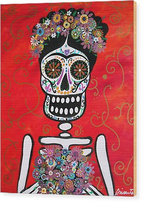 Wood Print featuring the painting Frida Dia De Los Muertos by Pristine Cartera Turkus