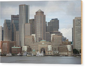 From Boston Harbor Wood Print by Harvey Barrison
