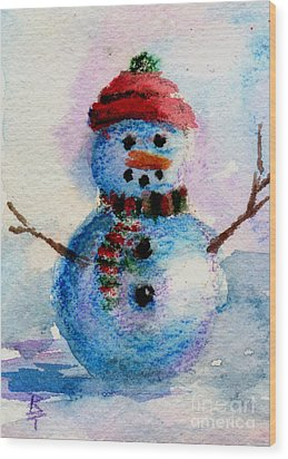 Frosty Aceo Wood Print by Brenda Thour