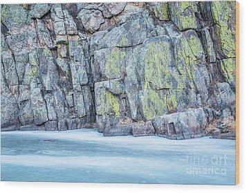Frozen River And Rocky Cliff Wood Print