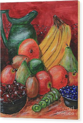 Wood Print featuring the painting Fruit And Pitcher by Melvin Turner