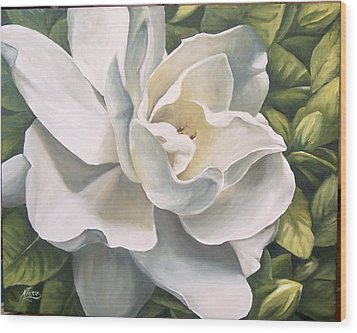Wood Print featuring the painting Gardenia by Natalia Tejera